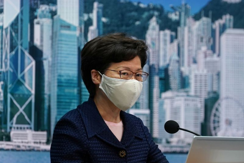 Hong Kong Chief Executive Carrie Lam, wearing a face mask following the coronavirus disease (COVID-19) outbreak, attends a news conference in Hong Kong, China on July 31, 2020. (REUTERS File Photo)
