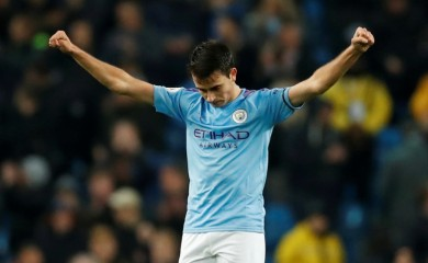 Manchester City's Eric Garcia celebrates after the match Action Images via Reuters/Andrew Boyers