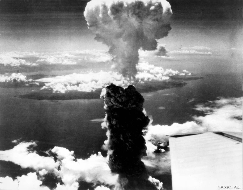 Smoke rises more than 60,000 feet into the air over Nagasaki, Japan, from an atomic bomb, the second ever used in warfare, dropped from a B-29 Superfortress bomber on August 9, 1945.  (REUTERS File Photo)