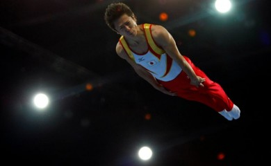FILE PHOTO : Tetsuya Sotomura of Japan competes in the men's trampoline competition at the Beijing 2008 Olympic Games August 19, 2008. REUTERS/Hans Deryk/File Photo