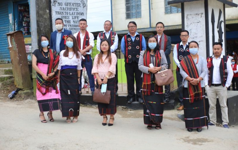 Officials and others during the Sumi Patriots' day organised by All Sumi Students' Union at Patriots' Monolith located in Old Town and Alahuto Junction, Zunheboto on August 4.