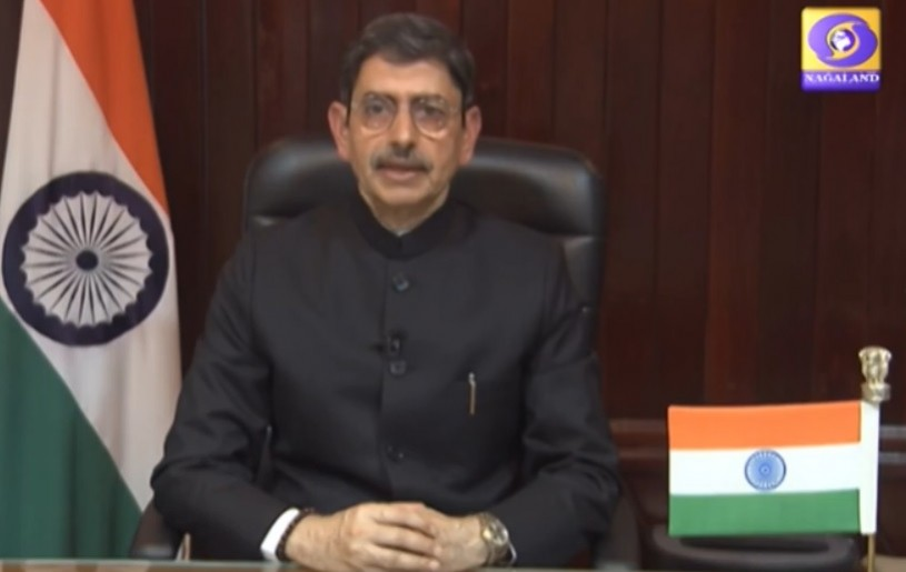 Governor of Nagaland RN Ravi addresses the people of Nagaland on the occasion of India's 74th Independence Day on August 15. (Photo: Kohima DD News / YouTube)