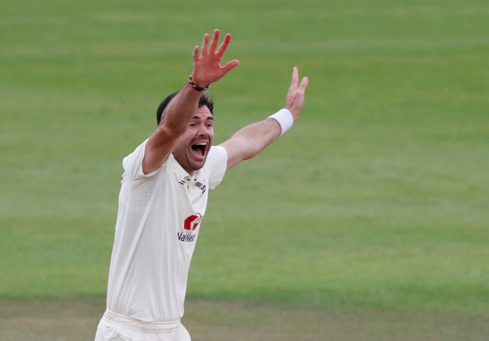 England's James Anderson celebrates taking the wicket of Pakistan's Abid Ali lbw at Ageas Bowl, Southampton, on August 24. (Alastair Grant/Pool via REUTERS)