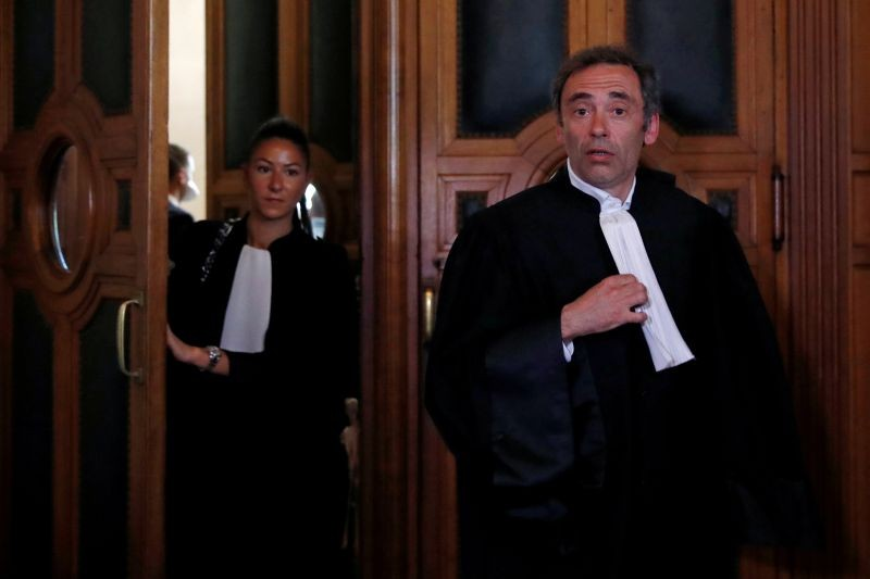 French lawyer Laurent Bayon, who defends Rwandan genocide suspect Felicien Kabuga, leaves the courtroom after the initial extradition hearing for Felicien Kabuga at the Paris courthouse, France, May 20, 2020. (REUTERS File Photo)