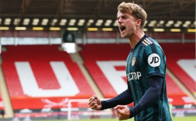 Leeds United's Patrick Bamford celebrates scoring their first goal Pool via REUTERS/Alex Livesey