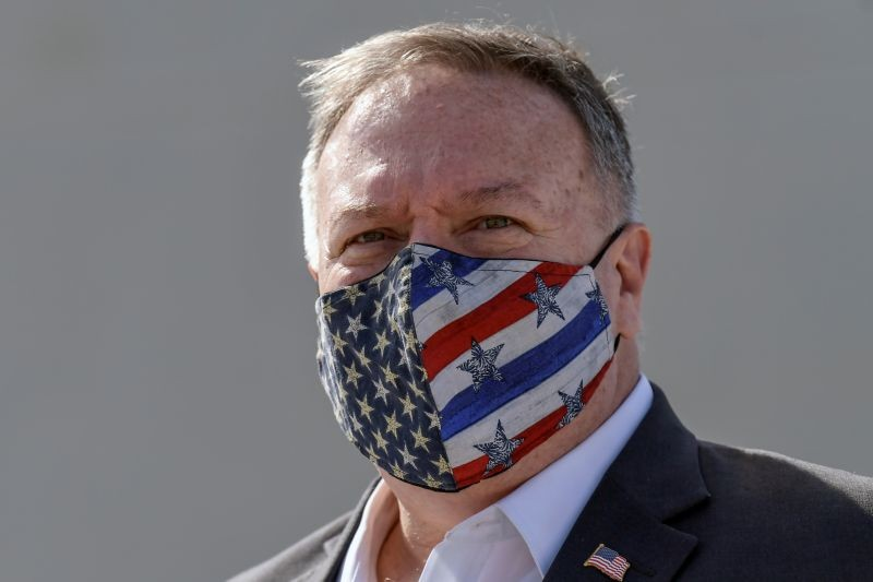 U.S. Secretary of State Mike Pompeo wears a protective face mask as he visits the Naval Support Activity base at Souda, Crete, Greece on September 29, 2020. (REUTERS Photo)
