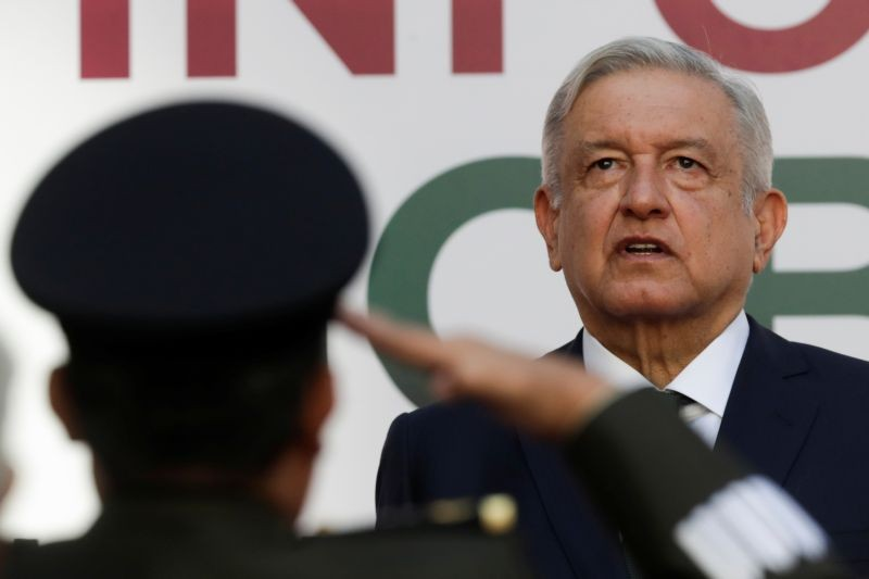 Mexico's President Andres Manuel Lopez Obrador looks on after delivering his second state of the union address at National Palace in Mexico City, Mexico on September 1. (REUTERS Photo)