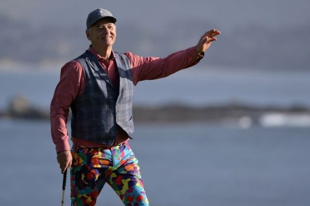 FILE PHOTO: Bill Murray acknowledges the crowd on the 18th green during the third round of the AT&T Pebble Beach Pro-Am golf tournament at Pebble Beach Golf Links. (USA TODAY Sports Photo via Reuters)