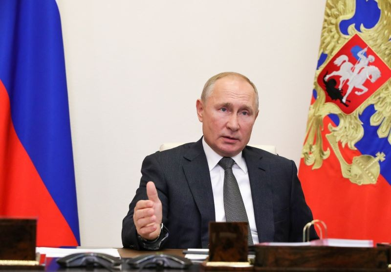 Russia's President Vladimir Putin takes part in a meeting with elected heads of Russian regions, via video link at the Novo-Ogaryovo state residence outside Moscow, Russia on September 24. (REUTERS Photo)