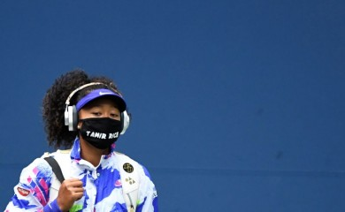 Naomi Osaka of Japan walks onto the court wearing a mask with the name of Tamir Rice prior to her match against Victoria Azarenka of Belarus (not pictured) in the women's singles final on day thirteen of the 2020 U.S. Open tennis tournament at USTA Billie Jean King National Tennis Center. Mandatory Credit: Danielle Parhizkaran-USA TODAY Sports/File Photo