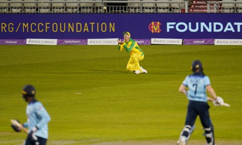 Australia's David Warner takes a catch to dismiss England's Sam Billings Jon Super/Pool via REUTERS