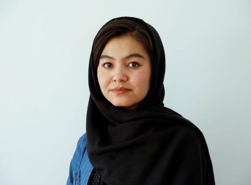 Shamsia Alizada,18, who has come top in the country's university entrance exam, speaks during an interview at her house in Kabul, Afghanistan on September 25, 2020. (REUTERS Photo)