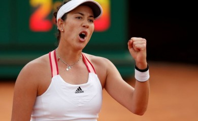Spain's Garbine Muguruza celebrates after winning her quarter final against Belarus' Victoria Azarenka Pool via REUTERS/Clive Brunskill/File Photo