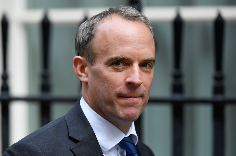 Britain's Foreign Affairs Secretary Dominic Raab is seen outside Downing Street in London, Britain on September 22, 2020. (REUTERS Photo)