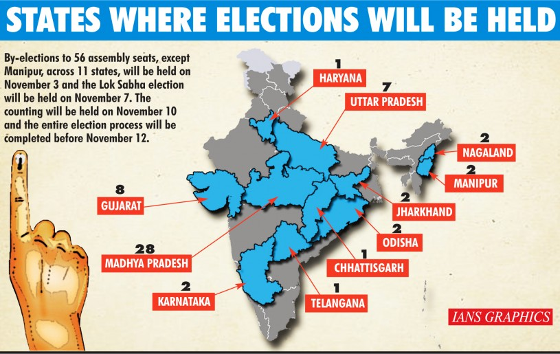 The Election Commission of India (ECI) on September 29 announced bye-elections to 56 assembly seats and one Lok Sabha seat in Bihar in the first week of November. (IANS Graphic)