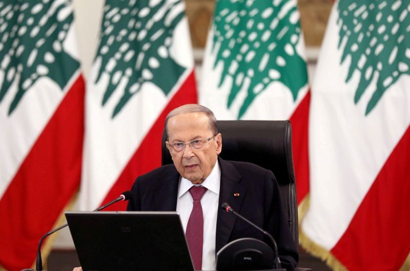 Lebanon's President Michel Aoun delivers a speech at the presidential palace in Baabda, Lebanon on June 25, 2020. (REUTERS File Photo)