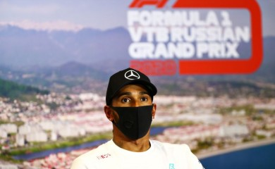 Mercedes' Lewis Hamilton during a press conference after he finished in third place in the race FIA/Handout via REUTERS