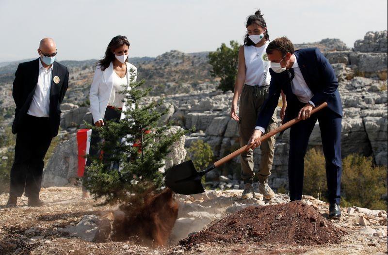 French President Emmanuel Macron plants a cedar next to members of the NGO Jouzour Loubnan in Jaj, near Beirut, Lebanon on September 1. (REUTERS Photo)