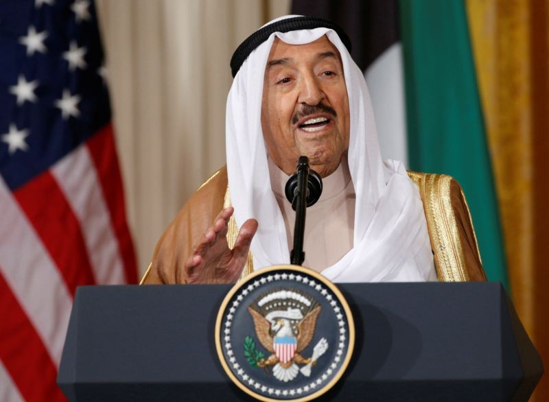 Kuwait's Emir Sheikh Sabah Al-Ahmad Al-Jaber Al-Sabah  addresses a joint news conference with U.S. President Donald Trump in the East Room of the White House in Washington, US on September 7, 2017. (REUTERS File Photo)