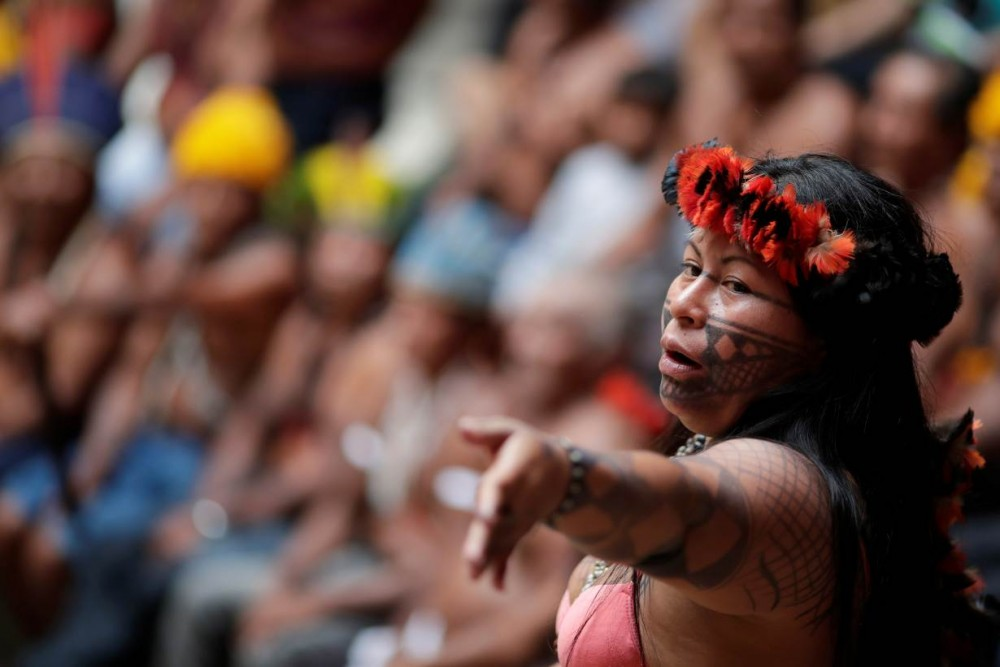 Alessandra, indigenous woman of Munduruku tribe speaks during a press conference to ask authorities for protection for indigenous land and cultural rights in Brasilia, Brazil November 21, 2019. REUTERS/Ueslei Marcelino