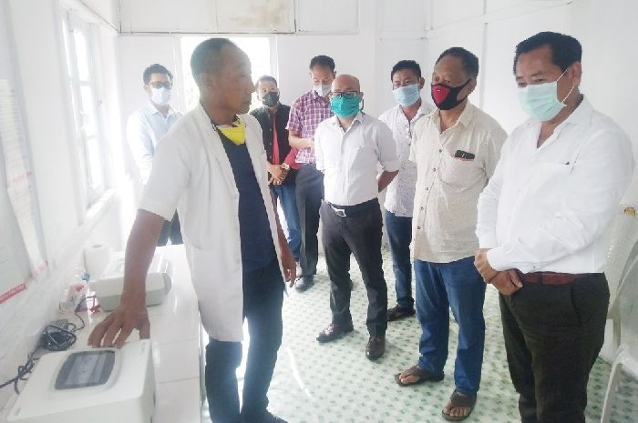 MLA Y Vikheho Swu, officials and others during the installation programme of TrueNat Lab at CHC Pughoboto on September 15. (DIPR Photo)