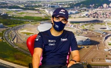 Formula One F1 - Russian Grand Prix - Sochi Autodrom, Sochi, Russia - September 24, 2020 Racing Point's Sergio Perez during the press conference FIA/Handout via REUTERS/Files