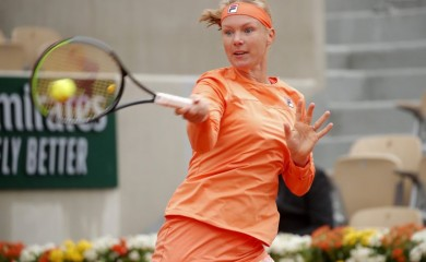 Netherlands' Kiki Bertens in action during her first round match against Ukraine's Katarina Zavatska REUTERS/Charles Platiau