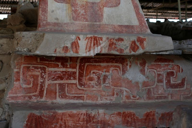 The remains of mural paintings with geometric designs and seashells are seen at La Ventilla, one of the most extensively-excavated neighborhoods in the ancient ruins of Teotihuacan, in San Juan Teotihuacan, northeast of Mexico City, Mexico. November 7, 2019. (REUTERS File Photo)