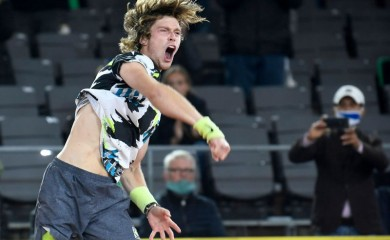 Russia's Andrey Rublev celebrates winning the final against Greece's Stefanos Tsitsipas. REUTERS/Fabian Bimmer