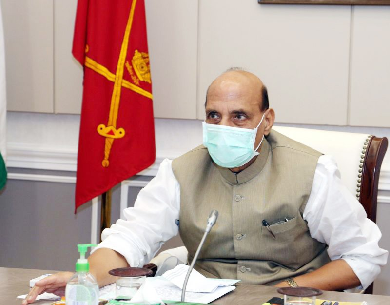 The Union Minister for Defence, Shri Rajnath Singh lays the foundation stone for Underpasses Construction at IMA Dehradun, through video Conferencing, in New Delhi on September 28. (PIB Photo)