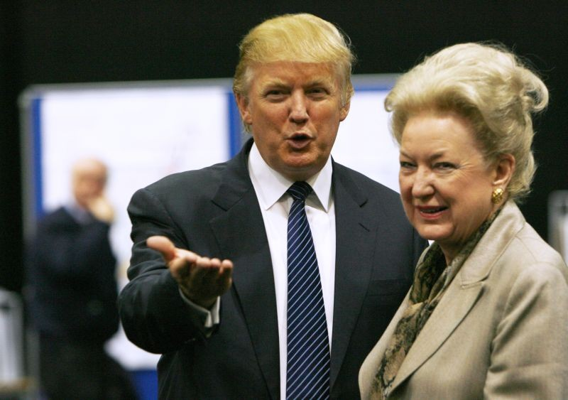 Donald Trump gestures as he stands next to his sister Maryanne Trump Barry, during a break in proceedings of the Aberdeenshire Council inquiry into his plans for a golf resort, Aberdeen, northeast Scotland June 10, 2008. (REUTERS File Photo)