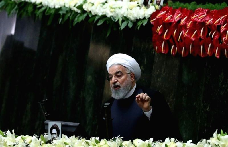 Iranian President Hassan Rouhani addresses the opening session of Iran's new parliament in Tehran, Iran on May 27, 2020. (IANS File Photo)