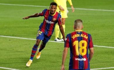Barcelona's Ansu Fati celebrates scoring their first goal REUTERS/Albert Gea