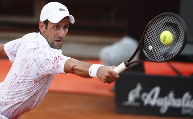 Serbia's Novak Djokovic in action during his semi final match against Norway's Casper Ruud Pool via REUTERS/Clive Brunskill