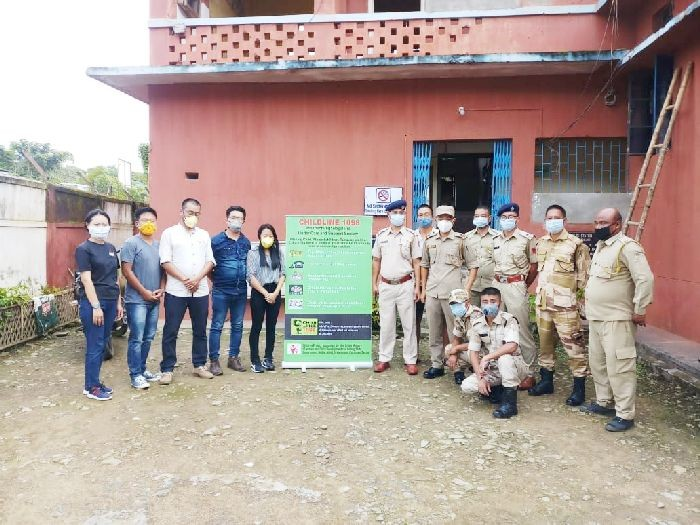 Mokokchung CHILDLINE 1098 with police during their visitation as part of the sensitization week which culminated on September 25.