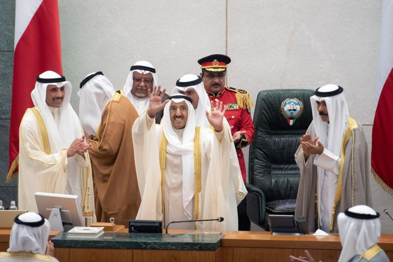 Kuwait's Emir Sheikh Sabah al Ahmad al Sabah waves as he leaves parliament session in Kuwait City, Kuwait October 29, 2019. (REUTERS File Photo)