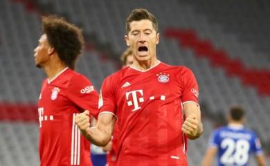 Bayern Munich's Robert Lewandowski celebrates scoring their third goal REUTERS/Michael Dalder DFL regulations prohibit any use of photographs as image sequences and/or quasi-video