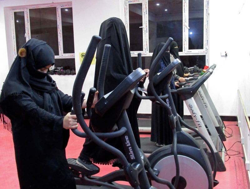 Afghan women exercise in a fitness gym in Kandahar, Afghanistan on September 16, 2020. (REUTERS File Photo)