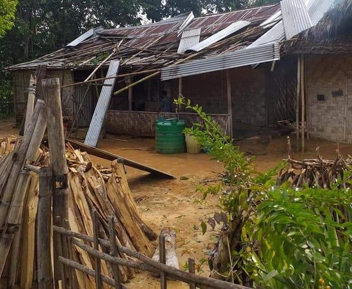 One of the houses damaged during the storm in Saringyim village, Mokokchung district on the night of September 20.