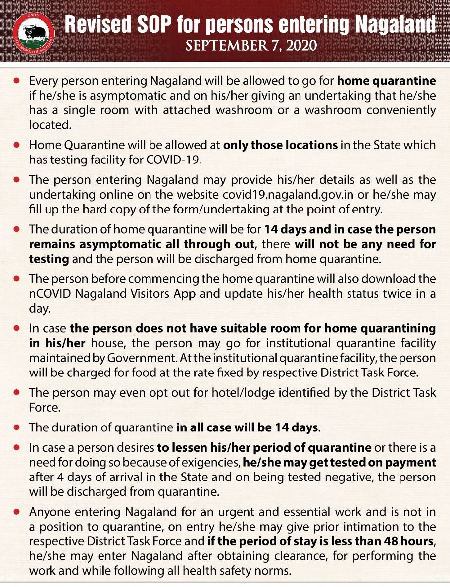 Nagaland Government revised Standard Operation Procedures for persons entering the State issued on September 7. (Image Courtesy: @Neiphiu_Rio / Twitter)