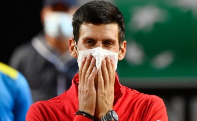 Tennis - ATP Masters 1000 - Italian Open - Foro Italico, Rome, Italy - September 21, 2020 Serbia's Novak Djokovic reacts after winning the final against Argentina's Diego Schwartzman Pool via REUTERS/Riccardo Antimiani