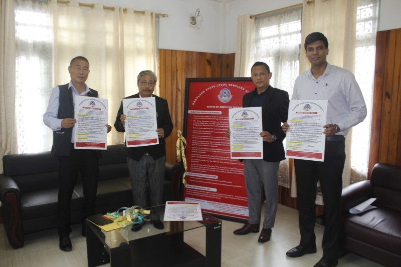 Officials during the launching of hoardings and pamphlets enumerating the 'Rights of Arrested persons' to be distributed in all the police stations across the state at the Judges Bungalow in Kohima. (Photo Courtesy: NSLSA)