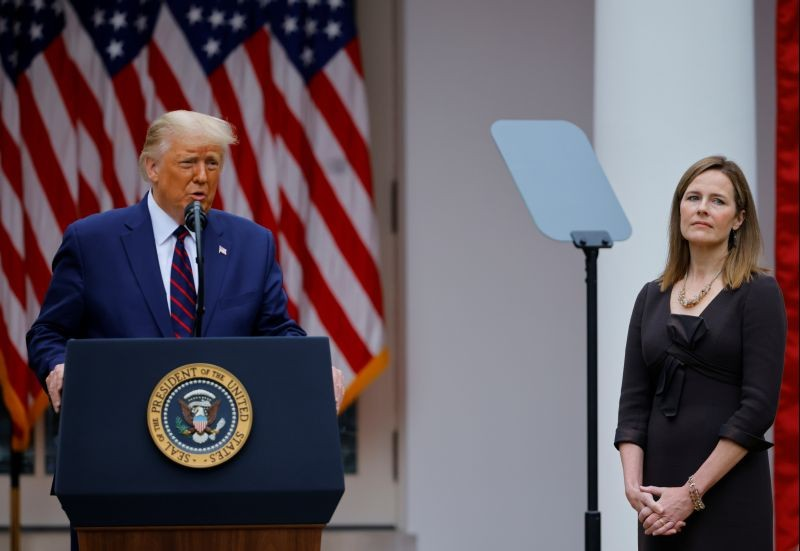 U.S President Donald Trump holds an event to announce his nominee of U.S. Court of Appeals for the Seventh Circuit Judge Amy Coney Barrett to fill the Supreme Court seat left vacant by the death of Justice Ruth Bader Ginsburg, who died on September 18, at the White House in Washington, U.S., September 26, 2020. (REUTERS Photo)