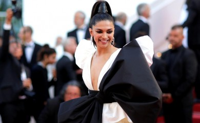 "FILE PHOTO: 72nd Cannes Film Festival - Screening of the film ""Rocketman"" out of competition - Red Carpet Arrivals - Cannes, France, May 16, 2019. Deepika Padukone poses./File Photo"