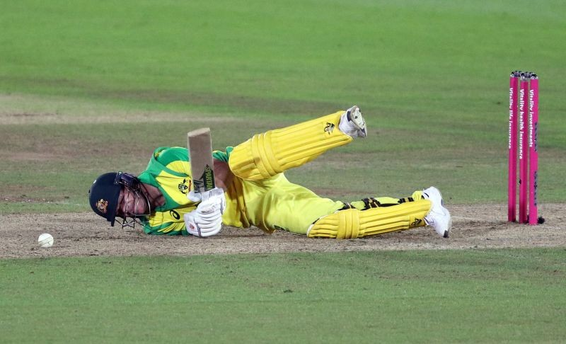 Cricket - First T20 International - England v Australia - Ageas Bowl, Southampton, Britain - September 4, 2020 Australia's David Warner goes down after being hit by the ball Andrew Matthews/Pool via REUTERS