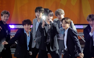 FILE PHOTO: Members of K-Pop band, BTS perform on ABC's 'Good Morning America' show in Central Park in New York City, U.S., May 15, 2019. REUTERS/Brendan McDermid