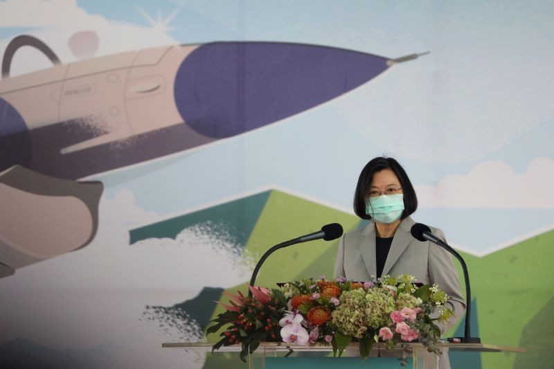 Taiwan President Tsai Ing-wen attends an inauguration ceremony of a maintenance centre for F-16 fighter jets, in Taichung, Taiwan on August 28, 2020. (REUTERS File Photo)