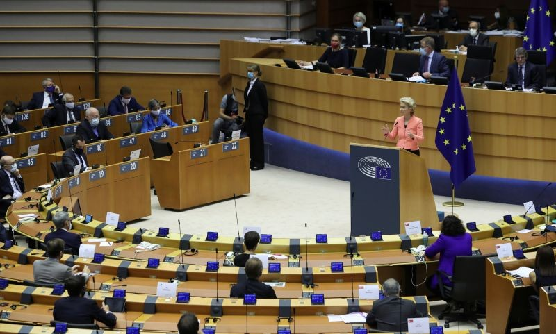 European Commission President Ursula von der Leyen addresses her first State of the European Union speech during a plenary session of the European Parliament as the coronavirus disease (COVID-19) outbreak continues, in Brussels, Belgium on September 16, 2020. (REUTERS Photo)