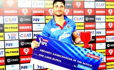Marcus Stoinis of Delhi Capitals is the Dream 11 Gamechanger of the match during match 2 of season 13 of Dream 11 Indian Premier League (IPL) between Delhi Capitals and Kings XI Punjab held at the Dubai International Cricket Stadium, Dubai. Image Source: IANS News