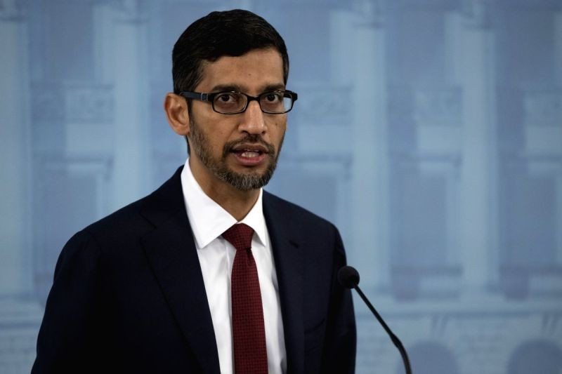 Google CEO Sundar Pichai attends a joint press conference with Finnish Prime Minister Antti Rinne (not in the picture) in Helsinki, Finland, on September20, 2019. (IANS File Photo)